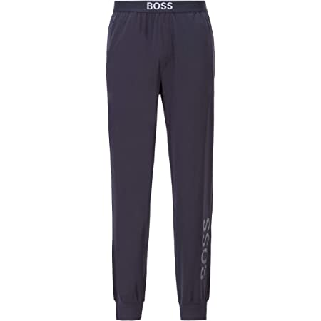 BOSS Mens Identity Pants Pyjama Trousers in Stretch Cotton with Vertical Logo Dark Blue