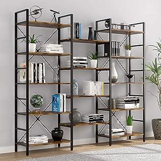 AOIWE Bibliothèque triple large à 5 étages, style industriel rustique, en bois et métal, meuble pour la maison et le burea...