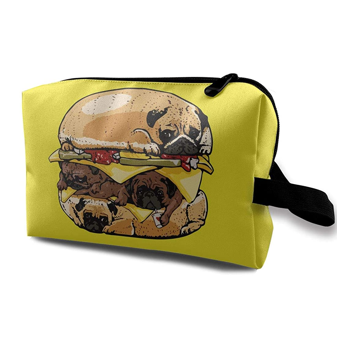 盟主抽出鎖化粧品 メイクポーチ トラベル化粧収納ポーチ パグ ハンバーガー 犬バーガー 大容量 トイレタリーバッグ 防水 出張用
