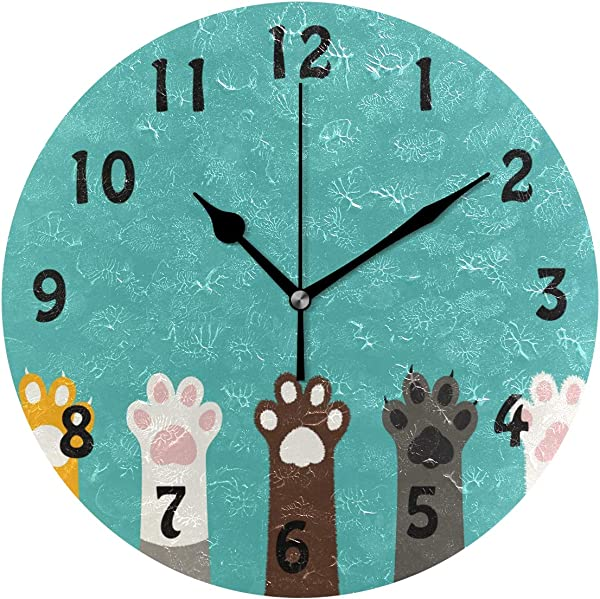 AUUXVA SEULIFE Wall Clock Cute Cat Paw Print Pattern Silent Non Ticking Clock For Kitchen Living Room Bedroom Home Artwork Gift