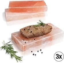 Amazy Plancha de sal para barbacoa (3 piezas) - Piedra de