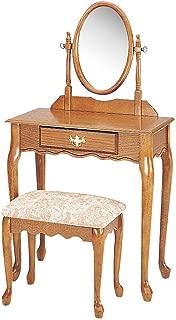 ACME 02337A-Oak Queen Ann 2-Piece Wood Veneer Vanity Set, Oak Finish