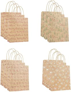 Loveso 12pcs Bag Paper Bag Packaging Kraft Paper Bottom Tote Bag for Holiday Party Favors New Year