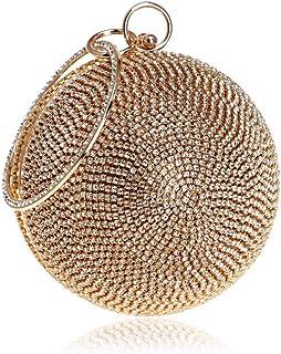 Shoulder Bag Women's Round Ball Handbag Diamond Evening Bag Clutch Purse Crossbody Bag Handbag Clutch (Color : Gold)
