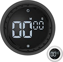Kitchen Timer (Black) – LED Digital Magnetic Timer and Countdown – Quick and Easy, Twist Setting, Mute and 3 Levels Alarm...