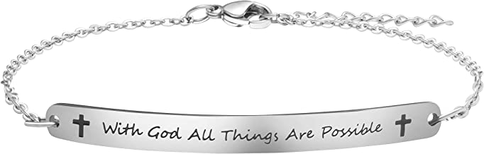 Joycuff Personalized Gifts for Women Motivational Friendship Bracelets Inspire Mantra Message Engraved