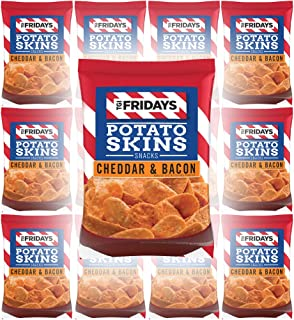 TGI Fridays Potato Skins Snacks, Cheddar & Bacon, 1oz Bag (Pack of 12, Total of 12 Oz)