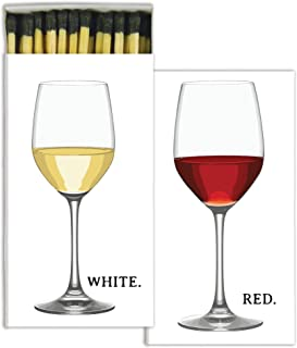 HomArt Large Decorative Red Wine, White Wine Candle and Fireplace Wood Matches