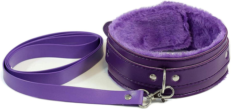Adjustable Pu Leather Soft Fluffy Fur Neck Choker Collar Necklace for Women Ladies Girls Purple