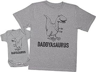 Zarlivia Clothing Daddysaurus & Babysaurus - Passende Vater Baby Geschenkset - Herren T-Shirt & Baby Strampler/Baby Body - XL & 6-12 Monate