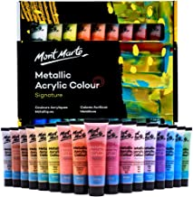 Mont Marte Premium Metallic Acrylic Paint Set, 36 x 1.02oz (36ml) Tubes, 36 Colors, Suitable for Most Surfaces Including C...