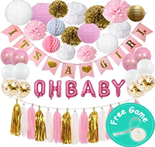 Baby Shower Decorations for Girl, Pink and Gold Set 60 Pieces Kit   It's a Girl Banner   OH Baby Foil Letter Balloons   Pom Poms Flower   Paper Lanterns   Tassels ( Pink, White, Gold)   Honeycomb   Free Gift a Tummy measure Tape Game