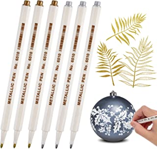 Gold and Silver Metallic Marker Pens, Metallic Permanent Markers Suitable for Cards Writing Signature Lettering Metallic Painting Pens (Gold and Silver, 1.0 mm 6 Pens)