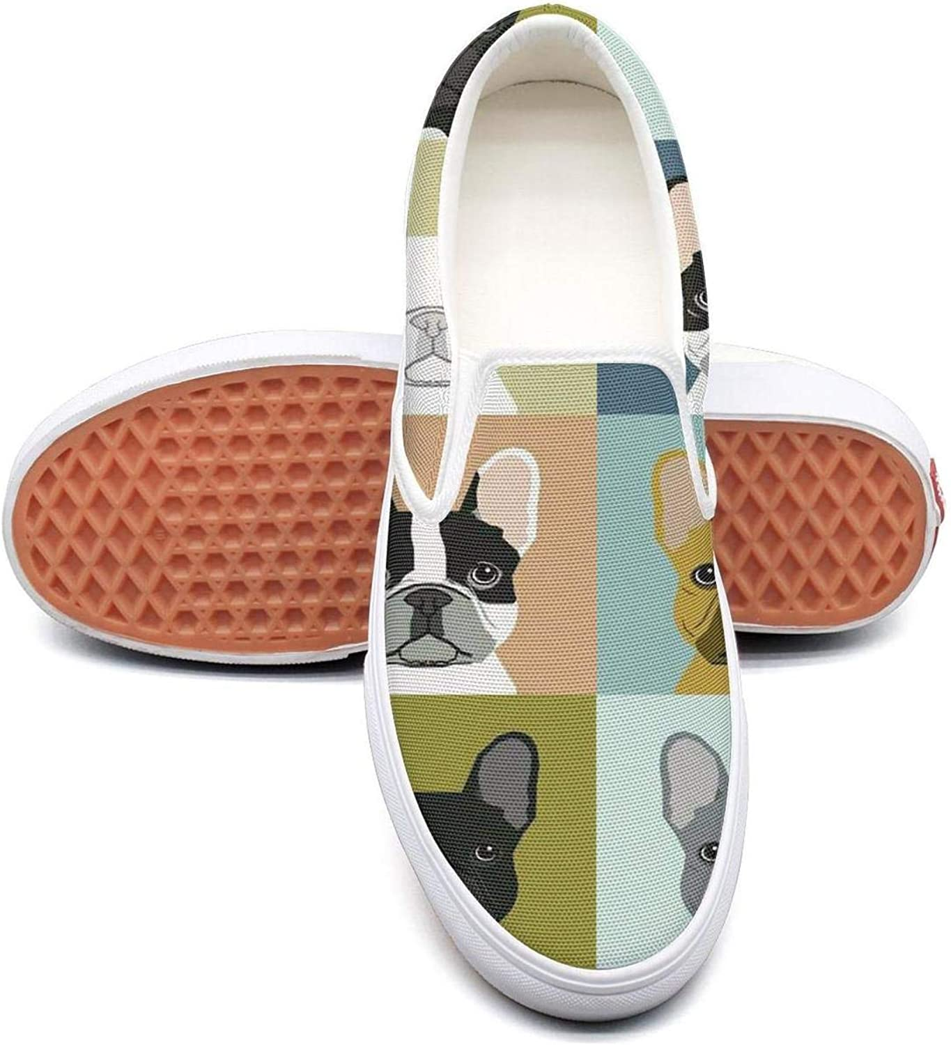 Refyds-es French Bulldog Illustration Funny Womens Fashion Slip on Low Top Lightweight Canvas Sneakers shoes