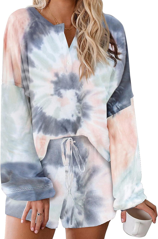 Zando Womens Tie Dye Printed Pajama Set 2 Piece Lounge Set Casual Pajamas Set Long Sleeve Loungewear with Shorts PJ Set
