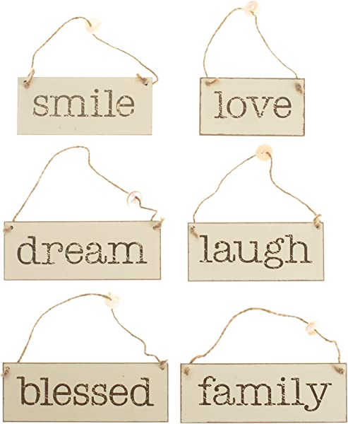 Honey And Me Love Laugh Smile Family Blessed Dream 7 5 X 3 Inch Wood Rectangle Hanging Signs 6 Piece Set