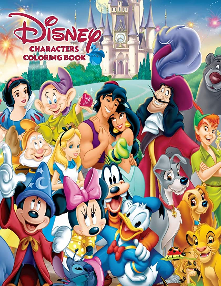 文字驚くべき移住するDisney Characters Coloring Book: Coloring Book for Kids and Adults. 70 Pages