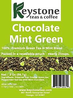Chocolate Mint Green Tea – Gunpowder Green Tea leaf ,Peppermint Herbal Tea, Mint Chocolate -2Oz (20 Cups) by Keystoneteas (2 Oz)