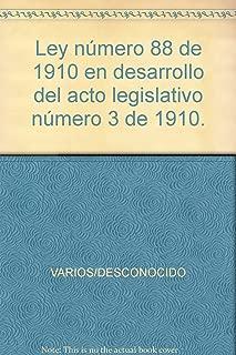 Ley número 88 de 1910 en desarrollo del acto legislativo número 3 de 1910.