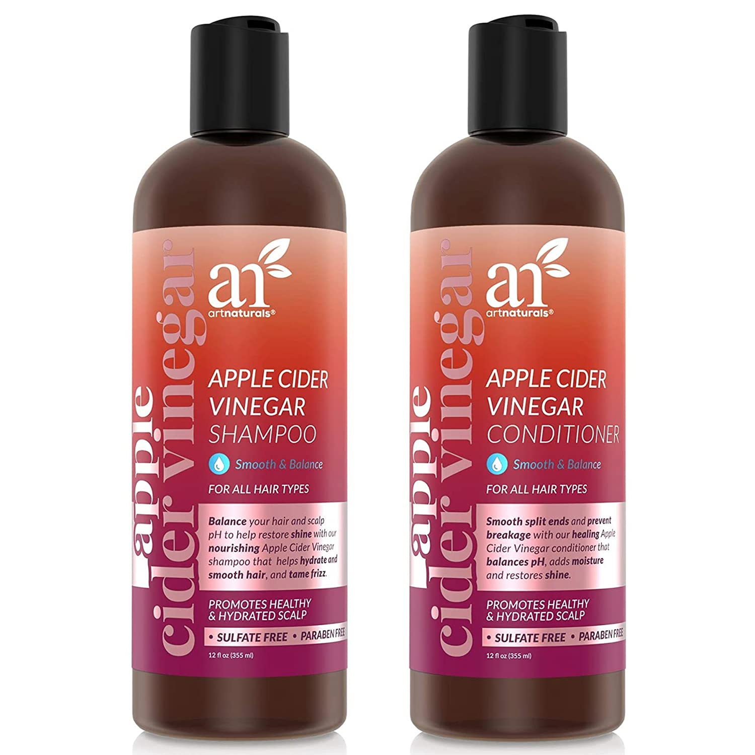 ArtNaturals Apple Cider Vinegar Shampoo and Conditioner Set - (2 x 12 Fl Oz / 355ml) for All Hair Types - Plant Base Blend - Coconut Oil and Vitamin E for Split Ends, Shine, Stronger and Smoother
