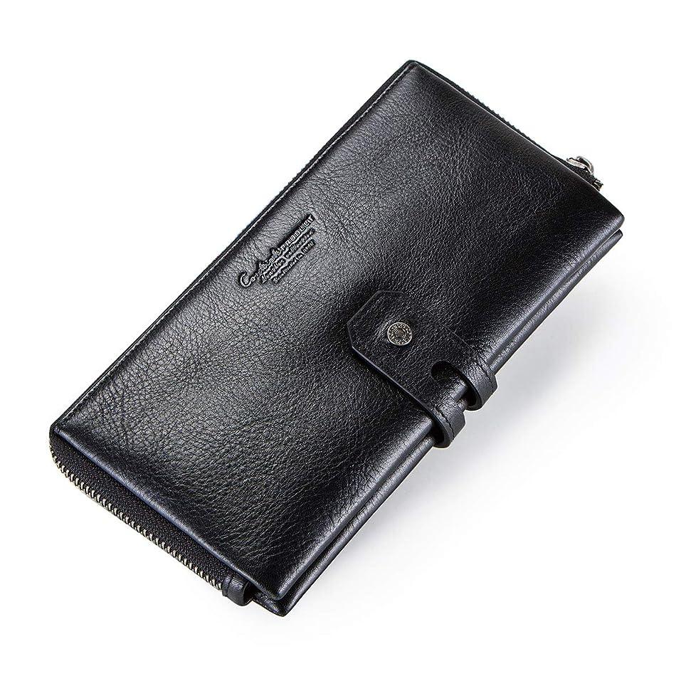 慣れる更新合わせて本革メンズ秘書カード財布ジッパー小銭入れブラック