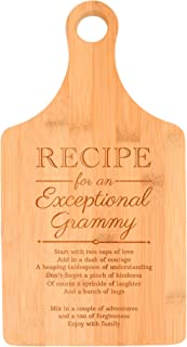 Birthday for Grandma Recipe for an Exceptional Grammy Perfect Gift for Grandma Baby Gifts for Grandma Gifts from Granddaughter Paddle Shaped Bamboo Cutting Board