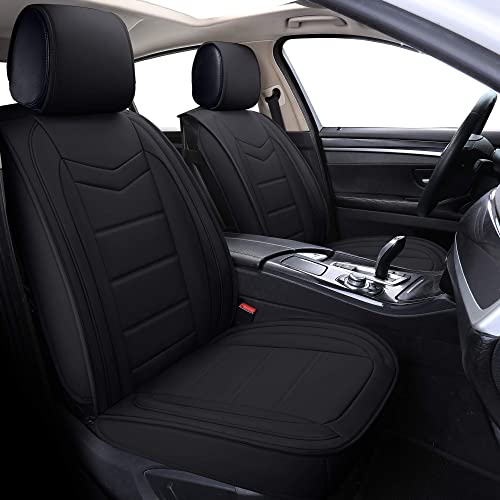 2021 Coverado new arrival Leather Car Seat Covers, Waterproof Faux Leather Automotive Vehicle Cushion Cover, Universal Fit for Cars SUV Pick-up Truck(Front online sale Pair, Black) online