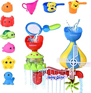 FUN LITTLE TOYS 11 PCs Toddler Bath Toys, Windmill Waterfall Water Station with Sea Animals Squirter Toys, Stackable Cups ...