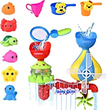 FUN LITTLE TOYS 11 PCs Toddler Bath Toys, Windmill Waterfall Water Station with Sea Animals Squirter Toys, Stackable Cups and Fishing Net