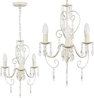 comprar comparacion MiniSun - Lámpara de techo de estilo araña 'Lille II' vintage - de diseño vintage francés, 3 luces y color crema
