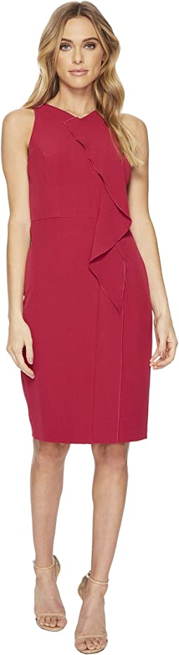 Adrianna Papell - Stretch Crepe V-Neck Sheath Dress