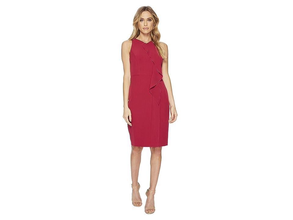 Adrianna Papell Stretch Crepe V-Neck Sheath Dress (Geranium) Women