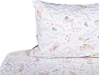 J-pinno Girls Cute Rabbit Bunny Double Layer Muslin Cotton Bed Sheet Set Twin, Flat Sheet & Fitted Sheet & Pillowcase Natural Hypoallergenic Bedding Set (21, Twin)
