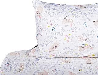 J-pinno Girls Cute Rabbit Bunny Double Layer Muslin Cotton Bed Sheet Set Twin, Flat Sheet & Fitted Sheet & Pillowcase Bedding Set (21, Twin)