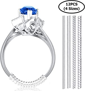 Set of 12 Ring Size Adjuster for Loose Rings 4 Sizes Ring Fitter, Sizer, Clear Spiral Silicone Tightener Fits Men and Women Rings with Polishing Cloth Mandrel for Making Jewelry (Clear)