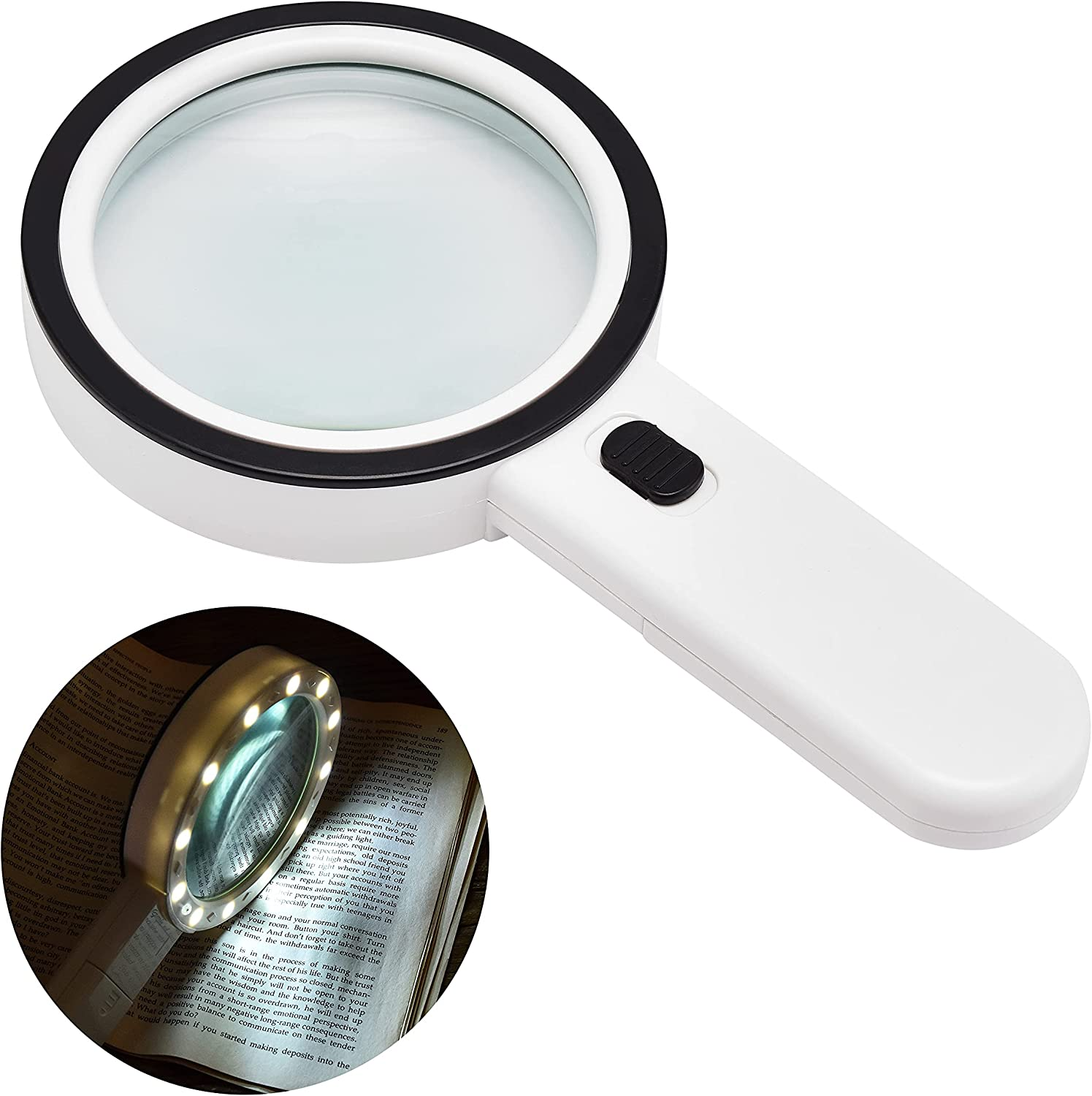 Seveight Magnifying Glass with Gl 10X 55% OFF Light Handheld Indefinitely