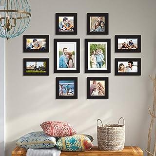 Art Street - Set of 10 Individual Black Wall Photo Frames Wall Hanging (Mix Size)(4 Units 4X6, 4 Units 5x5, 2 Units 6X8 in...