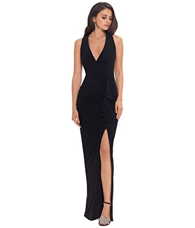 Betsy & Adam Long Jersey V-Neck Gown