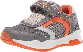 Geox Coridan Boy 6 SP Velcro Sneaker, Grey/Orange 29 Medium US Little Kid