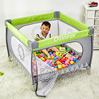 DHQL-Baby Playpen Playpens Portable Toddler Fence Foldable Ball Pit for Traveling Outdoor Thicken Cotton Pad Waterproof Oxford Cloth  Deluxe Green
