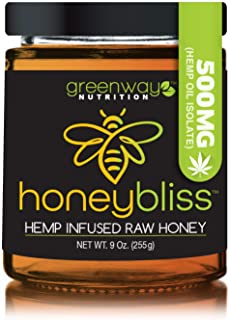 Honeybliss – Raw Clover Honey with 500mg Hemp Extract - 9oz Glass Jar | 100% Pure, Unfiltered Raw Honey Infused with Organic Hemp Oil Extract | Stress, Anxiety, Pain Relief, Sleep