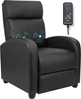 Furniwell Recliner Chair Massage Home Theater Seating Wing Back PU Leather Modern Single Living Room Reclining Sofa with F...