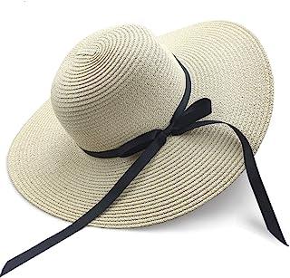 قبعات شمس للنساء كبيرة حافة عريضة بفيونكة وفيونكة قبعة شاطئ واقية من الأشعة فوق البنفسجية مرنة وقابلة للطي