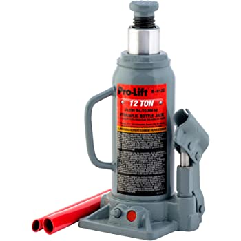 Pro-Lift B-012D Grey Hydraulic Bottle Jack - 12 Ton Capacity