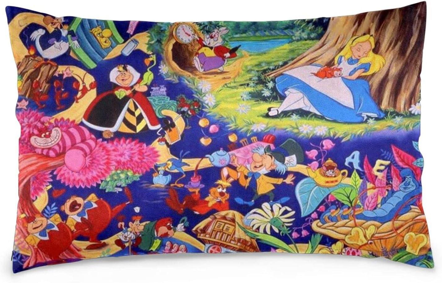 SIFIYHA Alice in Wonderland Pillow Cases with Hidden Zipper Supe