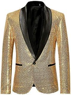 Men's Fashion Sequined Blazer One Button Shawl Lapel Tuxedo Jacket Slim Fit Prom Party Coat