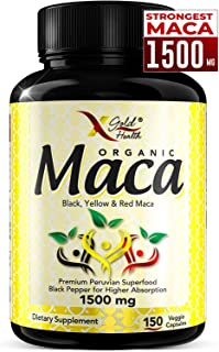 Organic Maca Root Powder Capsules Black, Red, Yellow Strongest 1500 mg Peruvian Maca Gelatinized for Energy, Performance, Mood for Men and Women, Vegan Pills w/Black Pepper for Best Benefits