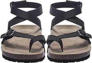 Women Flat Sandals Buckle Strappy Sandals Cross Toe Ankle Strap Cork Sole Leather Flat Mayari Sandals