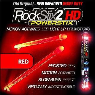 ❤️️🥁ROCKSTIX 2 HD RED, BRIGHT LED LIGHT UP DRUMSTICKS, with fade effect, Set your gig on fire! (RED ROCKSTIX)