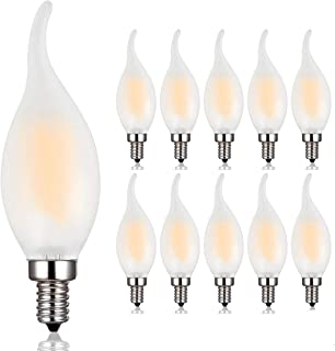 Candelabra LED Bulb,40W Equivalent E12 Base LED Candle Bulbs, C35 Flame Shape Bent Tip,E12 LED Light Bulb,4 Watt LED Light Bulb,B11 LED Chandelier Bulbs,2700K Warm White, Forsted Glass Cover,10 Pack